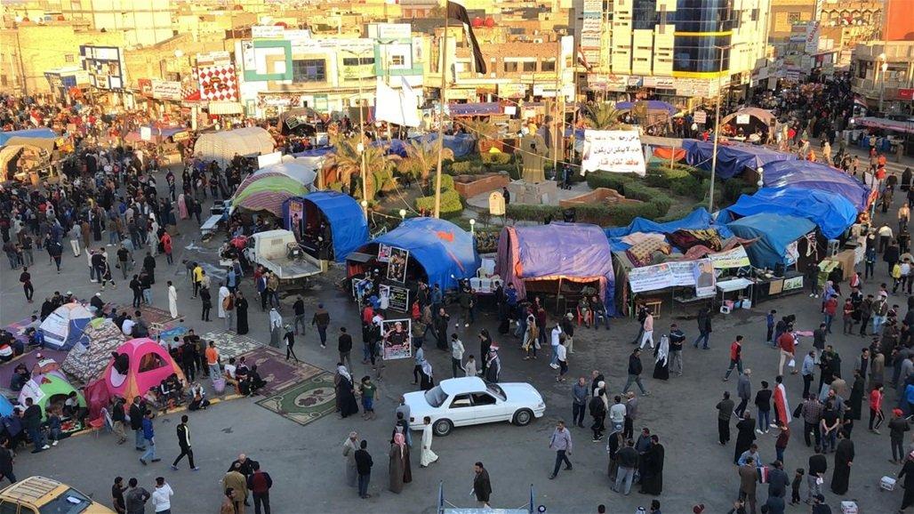 خيام المحتجين في مدينة الناصرية الجنوبية