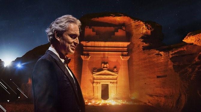 السعودية نيوز |  بوتشيلي يغني في موقع الحجر بالعلا لحنًا للتاريخ